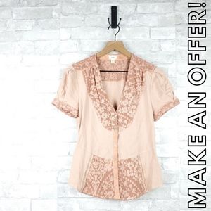 Anthro Tiny embroidered top | Size XS